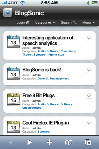 BlogSonic in Safari
